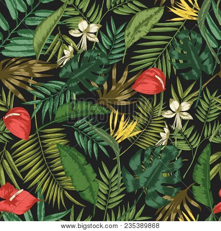 Botanical Seamless Pattern With Foliage Of Exotic Jungle Plants On Black Background. Backdrop With L