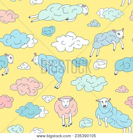 Sheep-clouds In The Sky. Sheep On Clouds - Cute Cartoon Childish Seamless Pattern In Vector.