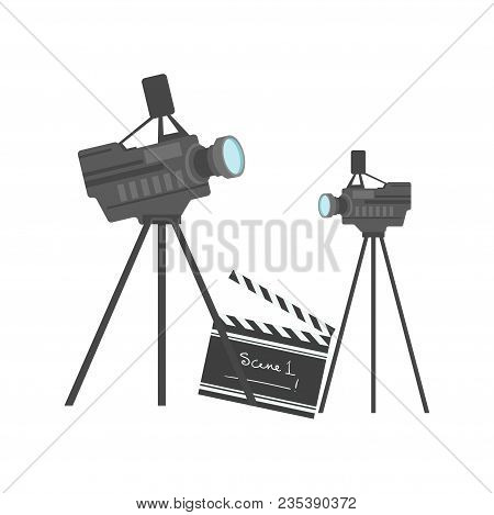 Cinematography Equipment, Cinema And Movie Vector Illustration Isolated On A White Background.