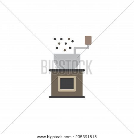 Coffee Grinder Flat Icon, Vector Sign, Colorful Pictogram Isolated On White. Handle Grinder Symbol,