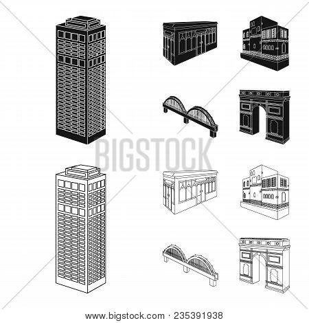 Arc De Triomphe In Paris, Reinforced Bridge, Cafe Building, House In Scandinavian Style. Architectur