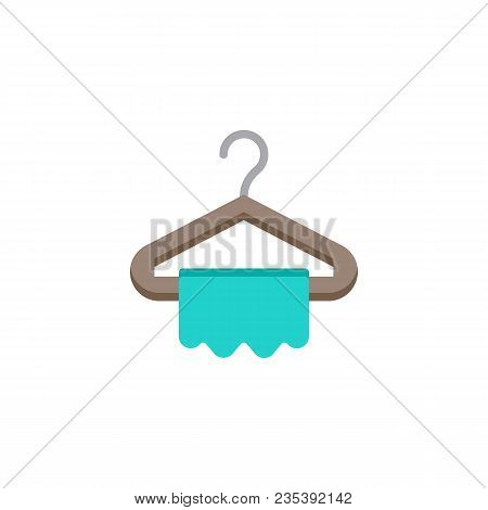 Hanger And Towel Flat Icon, Vector Sign, Colorful Pictogram Isolated On White. Clothes Hanger Symbol