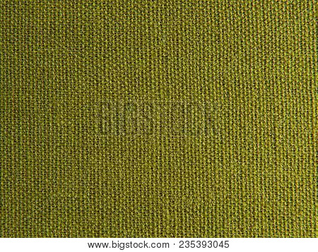 Flax Green Linen Canvas Background Or Texture. Fabric Green Olive Color Pattern. Grunge Natural Line
