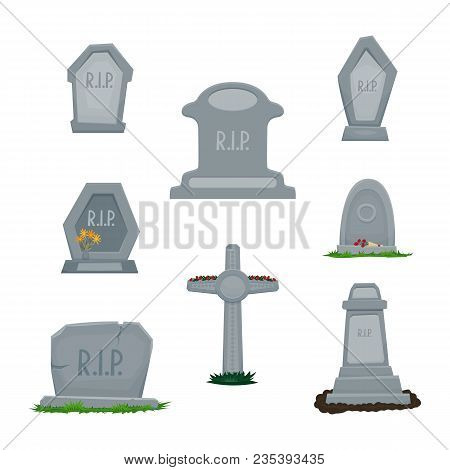 A Set Of Tombstones Grave Stones, Stone Cross, Graves With The Inscription Rip. Grass, Flowers. Vect