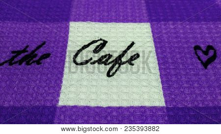 The Cafe Word On Violet Natural Cotton Fabric Waffle Towel Pattern Background.  Violet Modern Square