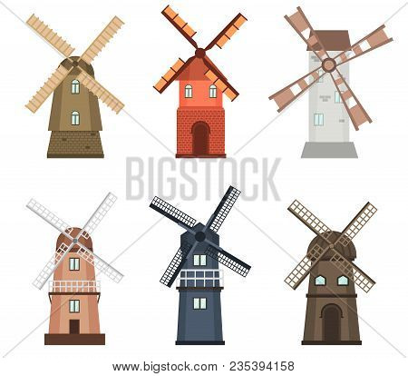 Windmill Traditional Rural Wind Energy Mill Farm Power Ecology Watermill Vector Illustration. Electr