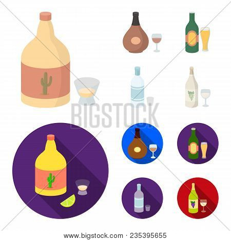 Tequila, Cognac, Beer, Vodka.alcohol Set Collection Icons In Cartoon, Flat Style Vector Symbol Stock