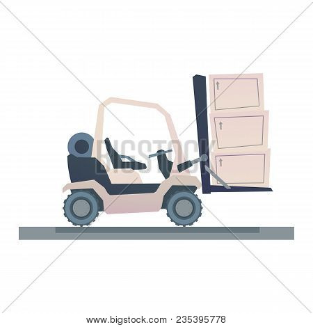 Forklift Truck With Crates Isolated On White Background. Vector Illustration In Cartoon Style