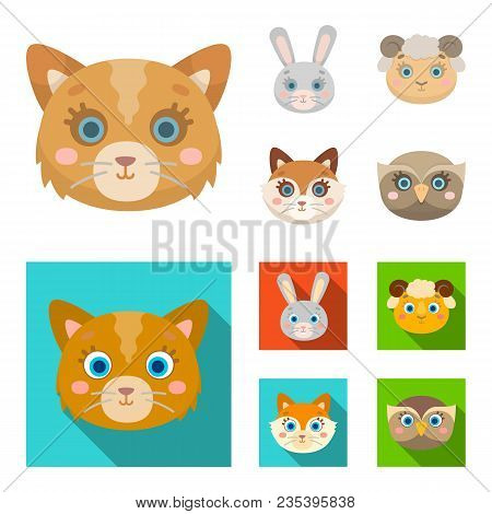 Cat, Rabbit, Fox, Sheep. Animal Muzzle Set Collection Icons In Cartoon, Flat Style Vector Symbol Sto
