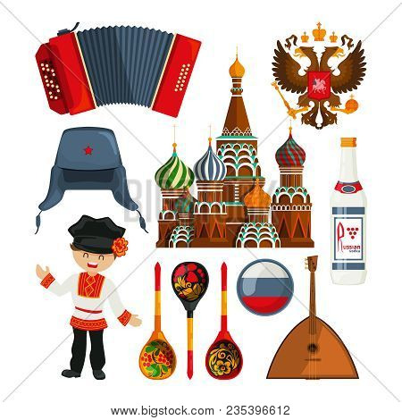 Russian Landmarks And Different Traditional Symbols. Vector Russia Culture, National Russian Traditi