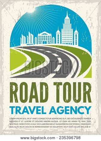 Retro Poster With Illustration Of Highway And Urban Landscape. Vector Road Tour, Journey And Route T