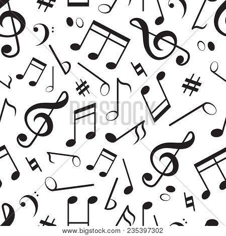 Seamless Pattern With Different Music Notes. Vector Music Pattern, Melody And Sound Illuistration
