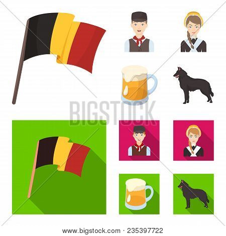 National Flag, Belgians And Other Symbols Of The Country.belgium Set Collection Icons In Cartoon, Fl