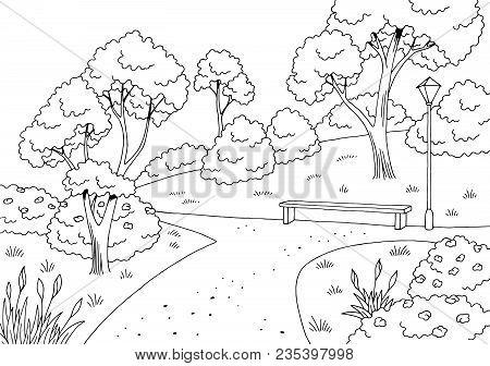 Park Graphic Black White Bench Lamp Landscape Sketch Illustration Vector