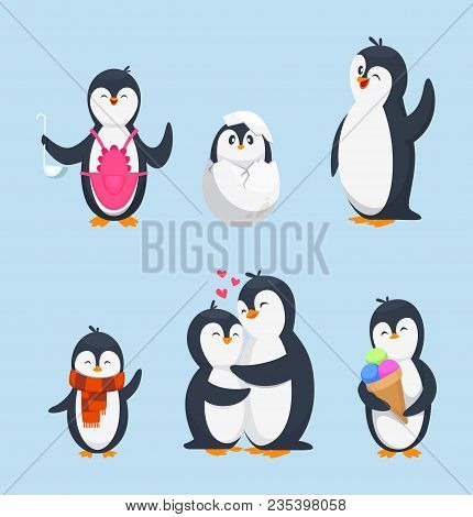 Funny Pinguins In Different Action Poses. Cartoon Mascots Isolate. Penguin Animal Bird Character, Ha