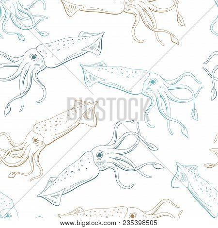 Squid Calamari Graphic Blue Beige Color Seamless Pattern Sketch Illustration Vector