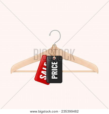Wood Clothes Hanger With Black And Red Tag. Lable With Price And Sale Offer Hanging On Hanger.