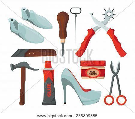 Tradesman In Shoes Repair Workshop. Vector Pictures Isolate. Illustration Of Repair Footwear, Handma