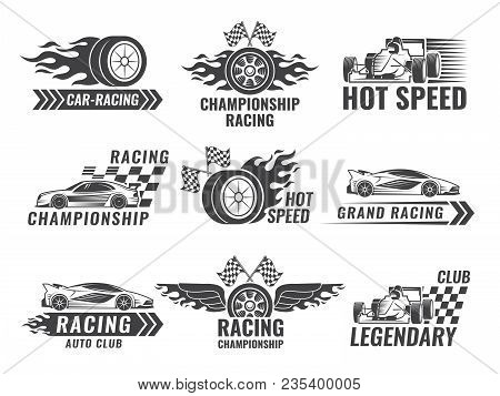 Trophy, Engine, Rally And Others Symbols For Race Sport Labels. Vector Rally Sport Label, Winner Cha