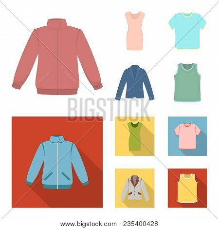 A Mans Jacket, A Tunic, A T-shirt, A Business Suit. Clothes Set Collection Icons In Cartoon, Flat St