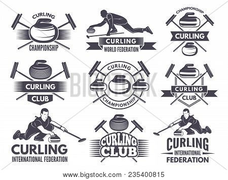 Monochrome Badges Of Curling. Labels For Sport Teams. Curling Sport Competition Badge Of Set. Vector