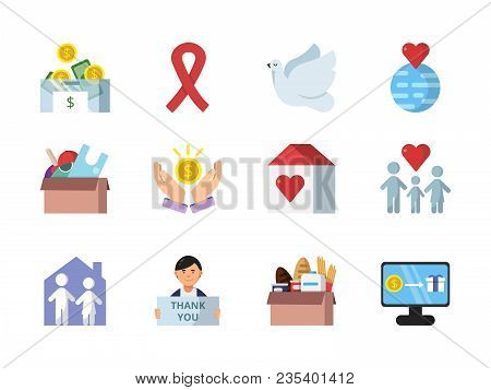 Donation, Gifts And Other Different Symbols Of Charities. Donation And Charity, Donate Money And Giv