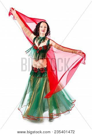 Arabian Bellydancer Sexy Woman In White Costume On White Background. Sensual Arabic Girl Belly Dance
