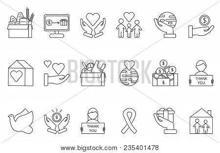 Symbols Of Volunteers And Charities Organisations. Monolines Icons Set. Vector Donate Money, Giving