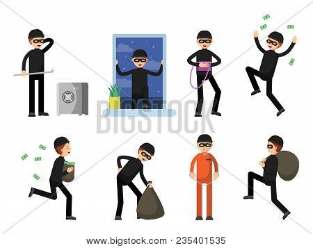 Set Of Criminal Characters Isolate On White. Vector Criminal Character, Man Crime Burglar, Thief And