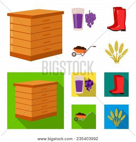 Hive, Grapes, Boots, Wheelbarrow.farm Set Collection Icons In Cartoon, Flat Style Vector Symbol Stoc