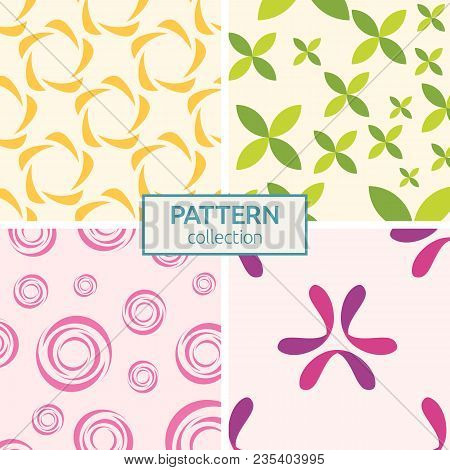 Set Of Four Seamless Fashion Colorful Patterns. Abstract Geometric Shapes Color Patterns. Patterns O