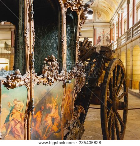 Lisbon, Portugal - July 14, 2015: National Coach Museum In Lisbon, Portugal. Exhibits Of Antique Car