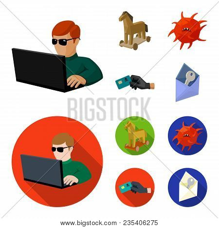 Hacker, Hacking, System, Internet .hackers And Hacking Set Collection Icons In Cartoon, Flat Style V