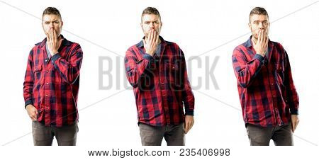 Young man covers mouth in shock, looks shy, expressing silence and mistake concepts, scared isolated over white background, collage composition