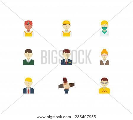 Occupation Icons Set. Hotel Receptionist And Occupation Icons With Teamwork, Indian Worker And White
