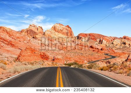 Scenic view from road in the Valley of Fire State Park, Nevada, United States.