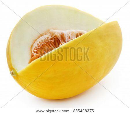 Closeup Of Brilliant Honeydew Melon Over White Background