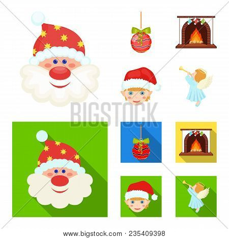 Santa Claus, Dwarf, Fireplace And Decoration Cartoon, Flat Icons In Set Collection For Design. Chris