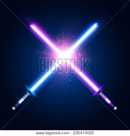 Purple Violet And Blue Crossed Light Neon Swords With Trembling Blades Fight. Laser Sabers War On Da