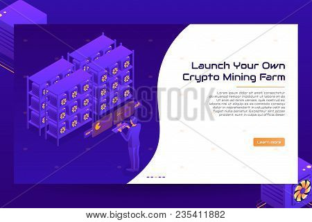 Isometric Crypto Mining Farm Concept. Cryptocurrency Mining Banner Template. Vector Illustration Wit
