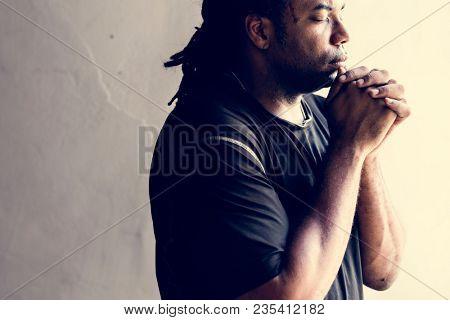 African man prayer faith in christianity religion