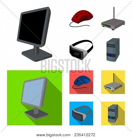 Monitor, Mouse And Other Equipment. Personal Computer Set Collection Icons In Cartoon, Flat Style Ve