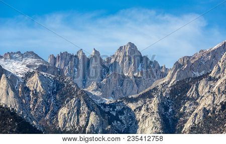 Mountain Whitney Close-up View At Alabama Hills, Eastern Sierra Nevada Mountains, Lone Pine, Califor