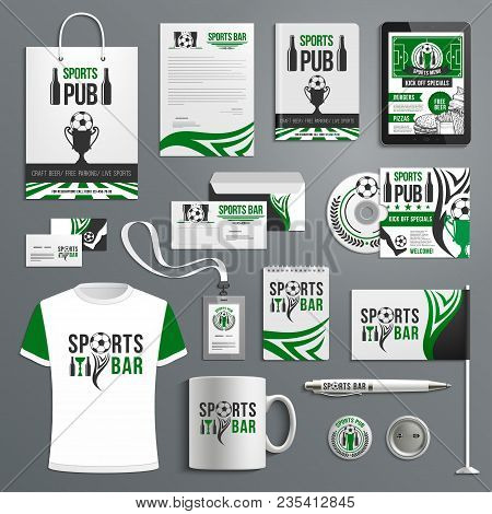 Corporate Identity Template Of Sport Bar With Soccer Ball, Beer And Trophy Brand Symbol. Letterhead,