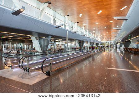 Doha, Qatar - November 03, 2015: Hamad International Airport Is The International Airport For Doha,