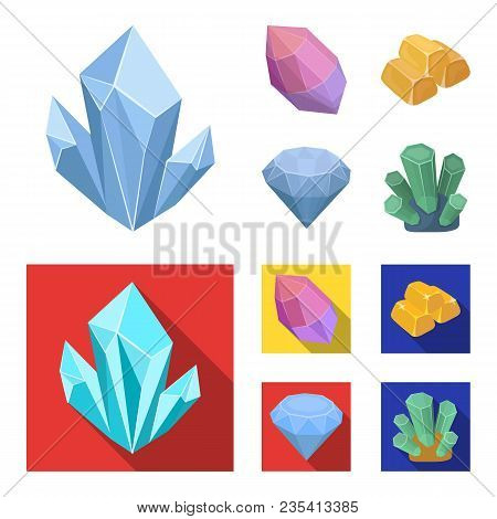 Crystals, Minerals, Gold Bars. Precious Minerals And Jeweler Set Collection Icons In Cartoon, Flat S