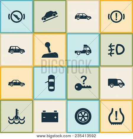 Automobile Icons Set With Stop, Station Wagon, Hill Descent And Other Warning Elements. Isolated Vec
