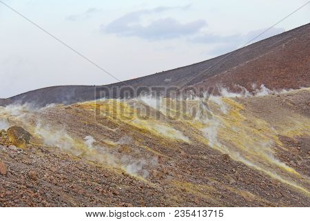 Gray Hydrogen Volcano And Volcano Craters On Vulcano Island, Lipari, Italy. Sunset, Gas, Poisonous P
