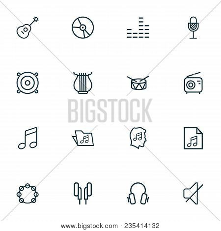 Multimedia Icons Line Style Set With Earphones, Speaker, Tambourine And Other Equalizer  Elements. I