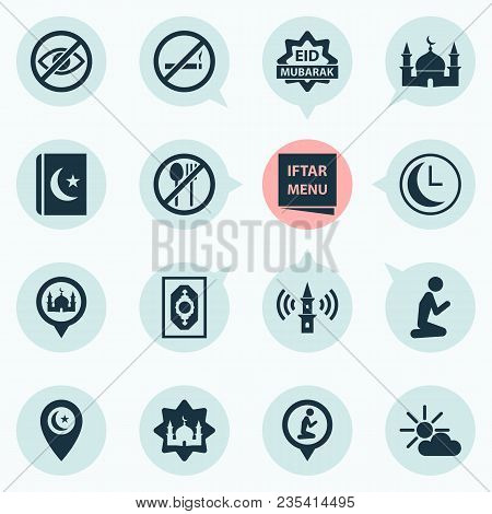 Religion Icons Set With Lower Your Eyes, Religion, Asr And Other Cigarette Forbidden Elements. Isola